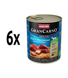 6x Animonda GRANCARNO® dog adult hovädzie,údený úhor,zemiaky 800g