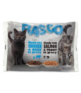 Kapsičky RASCO Cat s lososom a pstruhom / s kuracím a hovädzím multipack 400g