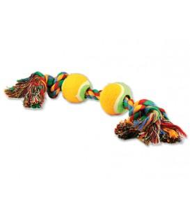 Hračka DOG FANTASY farebná 2 knôty + 2 tenisáky 35 cm