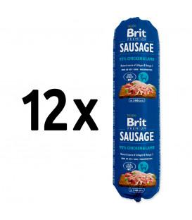 12x saláma BRIT Premium Sausage Chicken & Lamb 800g