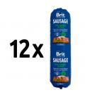 12x saláma BRIT Premium Sausage Turkey & Peas 800g