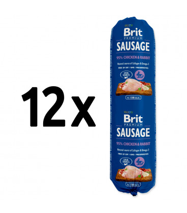 12x saláma BRIT Premium Sausage Chicken & Rabbit 800g