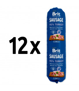 12x saláma BRIT Premium Dog Sausage Turkey 800g
