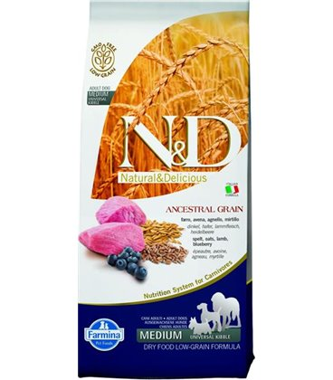 Farmina N&D dog LG adult medium lamb&blueberry 12 kg