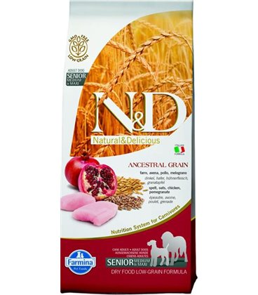 Farmina N&D dog LG Senior medium&maxi chicken&pomegranate 12 kg