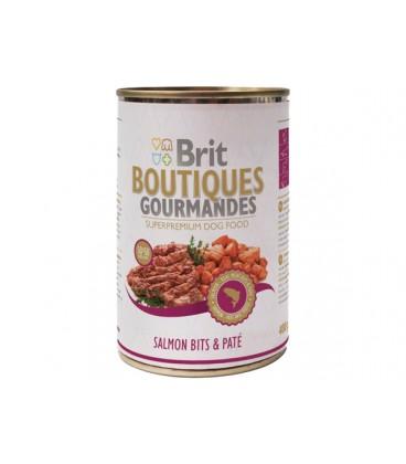 Konzerva BRIT Dog Boutiques Gourmandes Salmon Bits & Paté 400g