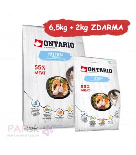 ONTARIO Kitten Salmon 6,5kg + 2kg ZDARMA
