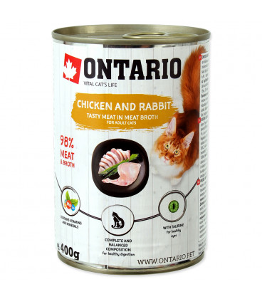 Konzerva ONTARIO Cat Chicken, Rabbit, Salmon Oil 400g