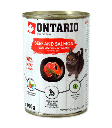 Konzerva ONTARIO Cat Beef, Salmon, Sunflower Oil 400g