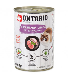 Konzerva ONTARIO Cat Chicken, Turkey, Salmon Oil 400g